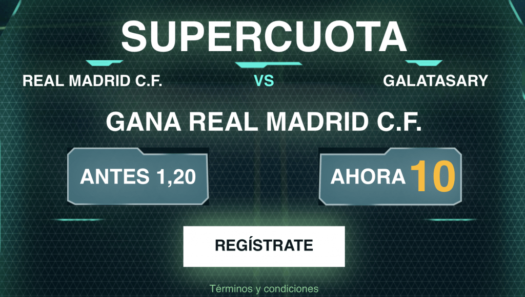 Supercuota Codere Champions League : Real Madrid gana al Galatasaray a cuota 10.