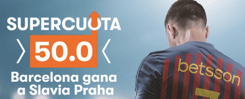 Supercuota betsson Champions League : Fc Barcelona gana a Slavia Praga a cuota 50.