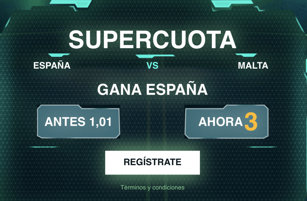 Supercuota Codere España gana a Malta a cuota 3.