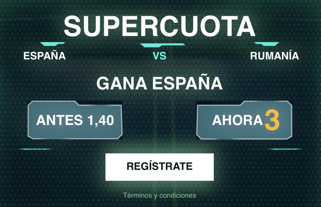 Supercuota Codere España gana a Rumanía a cuota 3.