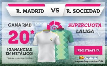 Supercuota Wanabet : Real Madrid gana a la Real Sociedad a cuota 20.