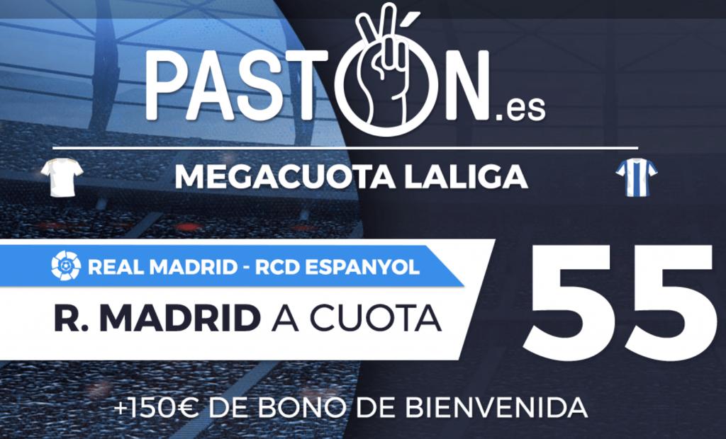 Supercuota Pastón La Liga : Real Madrid gana al Espanyol a cuota 55.