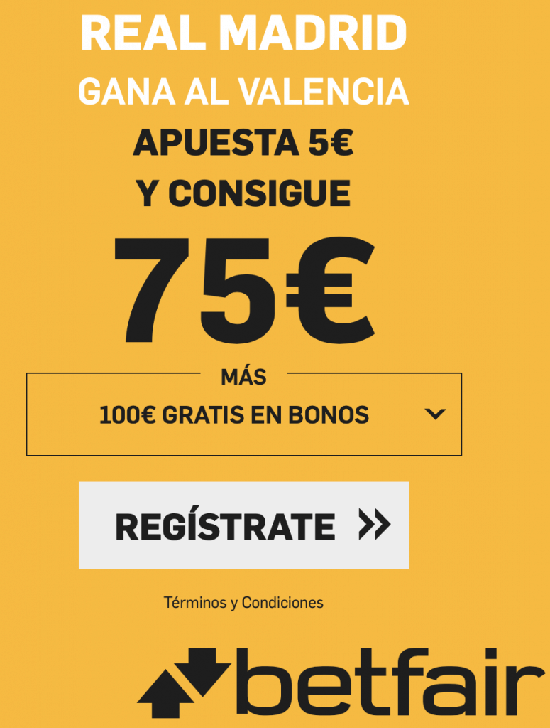 Supercuota betfair Real Madrid gana al Valencia a cuota 15.