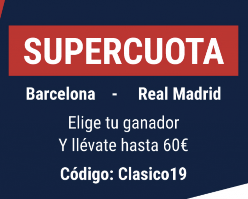 Supercuota Marathonbet El Clásico : Fc Barcelona - Real Madrid.