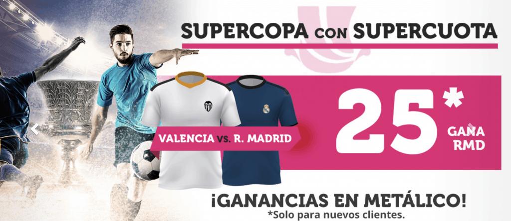 Supercuota Wanabet Real Madrid gana al Valencia a cuota 25