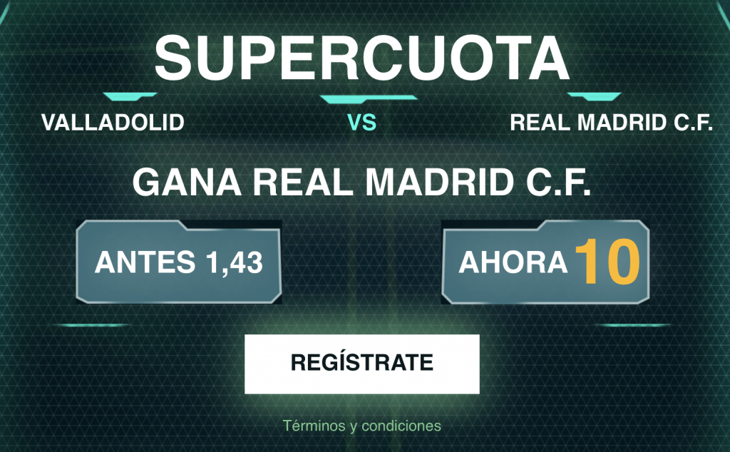 Supercuota Codere Real Madrid gana al Valladolid a cuota 10
