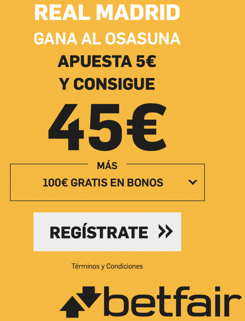 Supercuota betfair Osasuna - Real Madrid