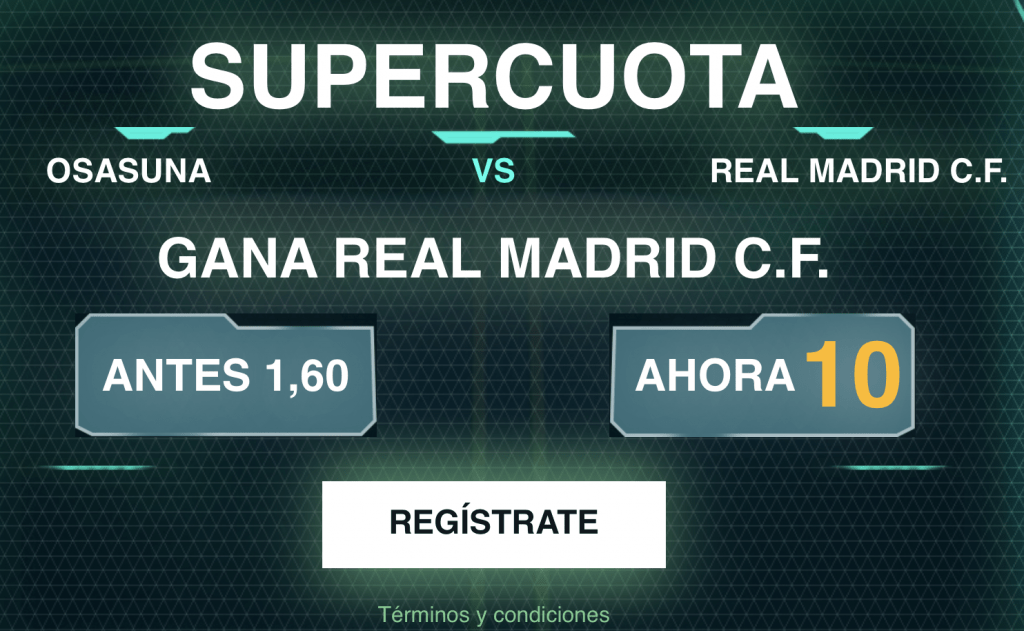 Supercuota Codere Real Madrid gana a Osasuna a cuota 10