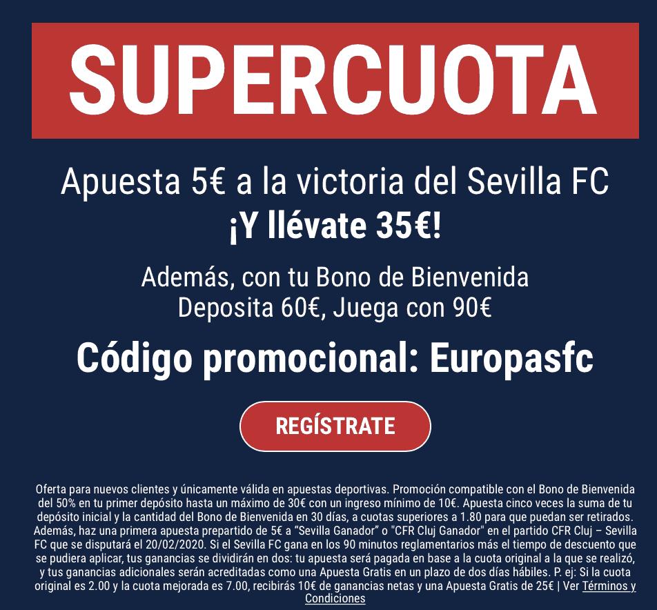 Supercuota Marathonbet : Cluj - Sevilla FC