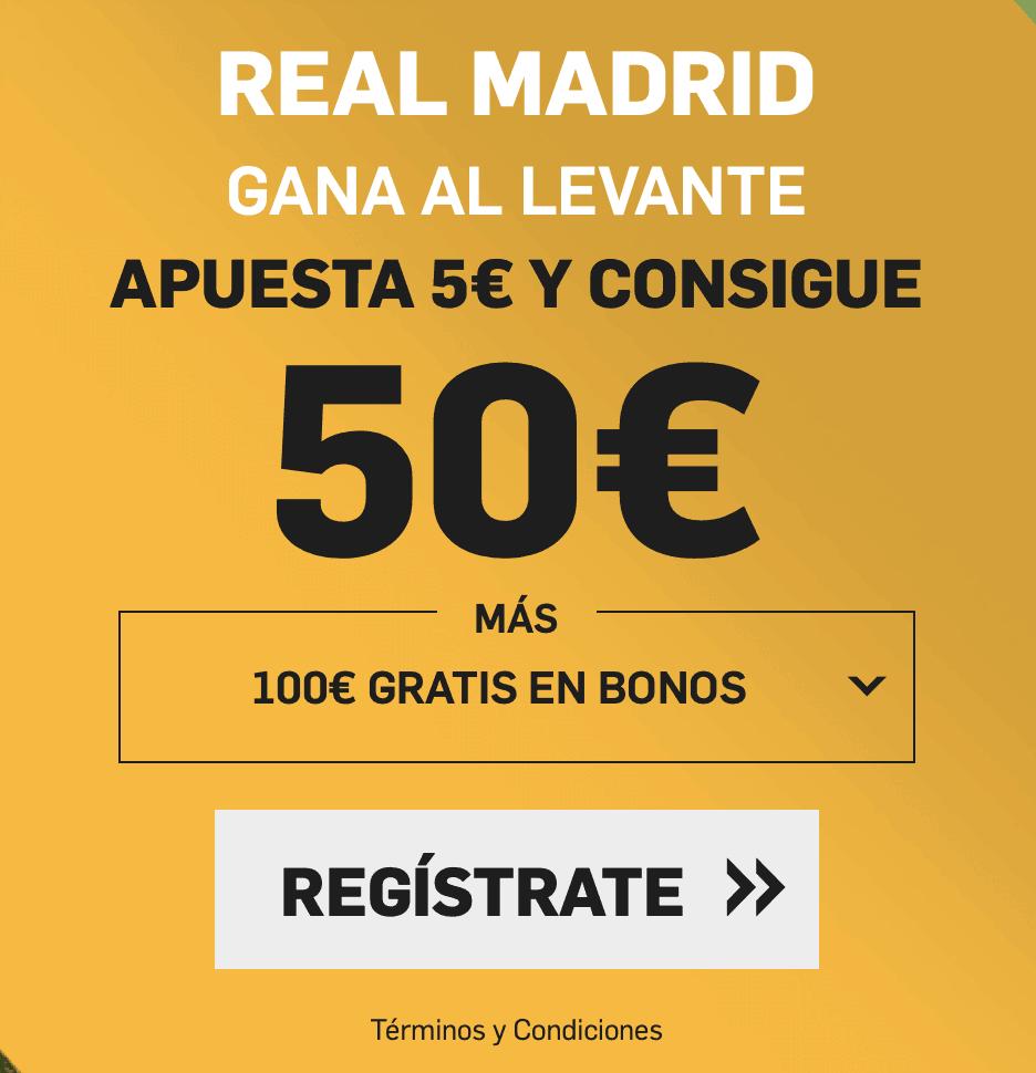 Supercuota betfair Liga Real Madrid gana al Levante a cuota 10
