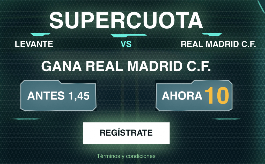 Supercuota Codere Real Madrid gana al Levante a cuota 10
