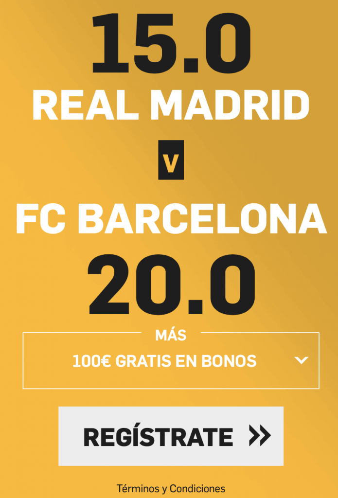 Supercuota betfair El Clásico : Real Madrid - Fc Barcelona.
