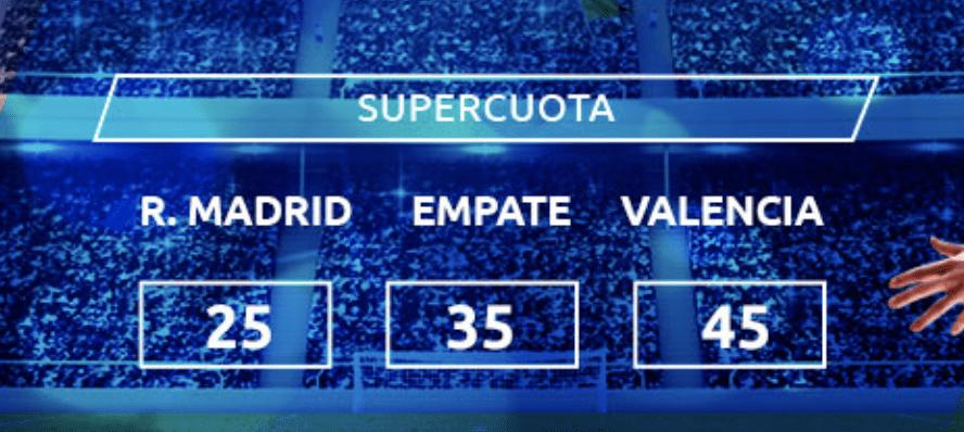 Supercuota Mondobets Liga Real Madrid - Valencia CF