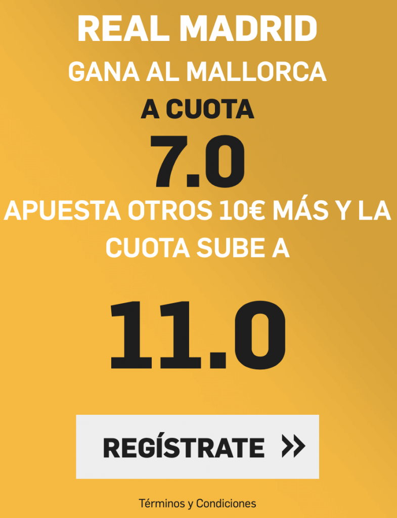 Supercuota Betfair Real Madrid - RCD Mallorca.