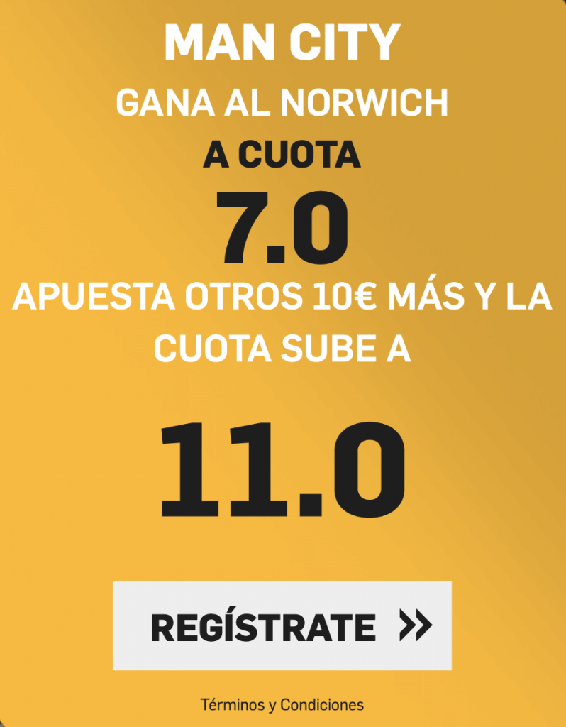 Supercuota betfair Manchester City - Norwich