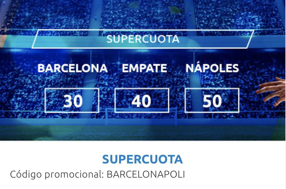 Supercuota Mondobets Champions League Fc Barcelona - Nápoles