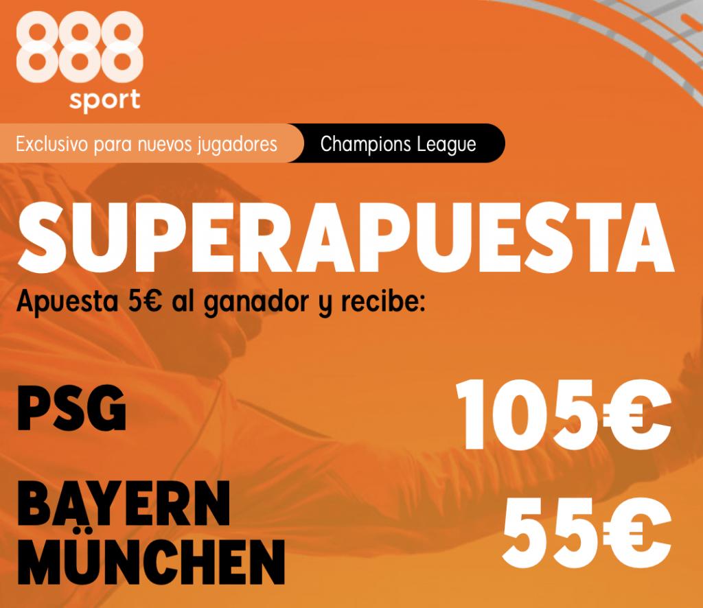 Supercuota 888sport PSG - Bayern Munich
