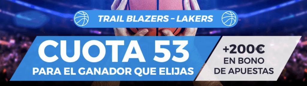 Supercuota Pastón NBA : Portland Trail Blazers - LA Lakers.