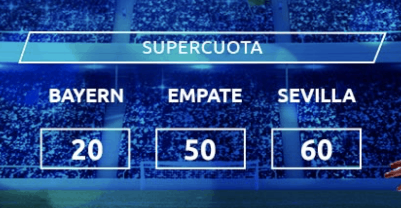 Supercuota Mondobets : Supercopa de Europa , Bayern - Sevilla FC.