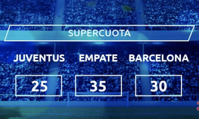 Supercuota Mondobets Champions League : Juventus - Barcelona