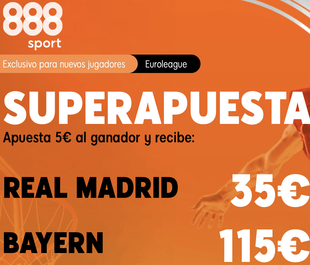 Supercuota 888sport baloncesto Euroleague : Real Madrid - Bayern.
