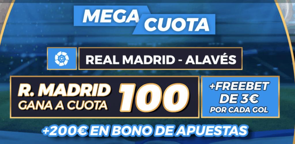 Supercuota pastón La Liga: Real Madrid - Alavés