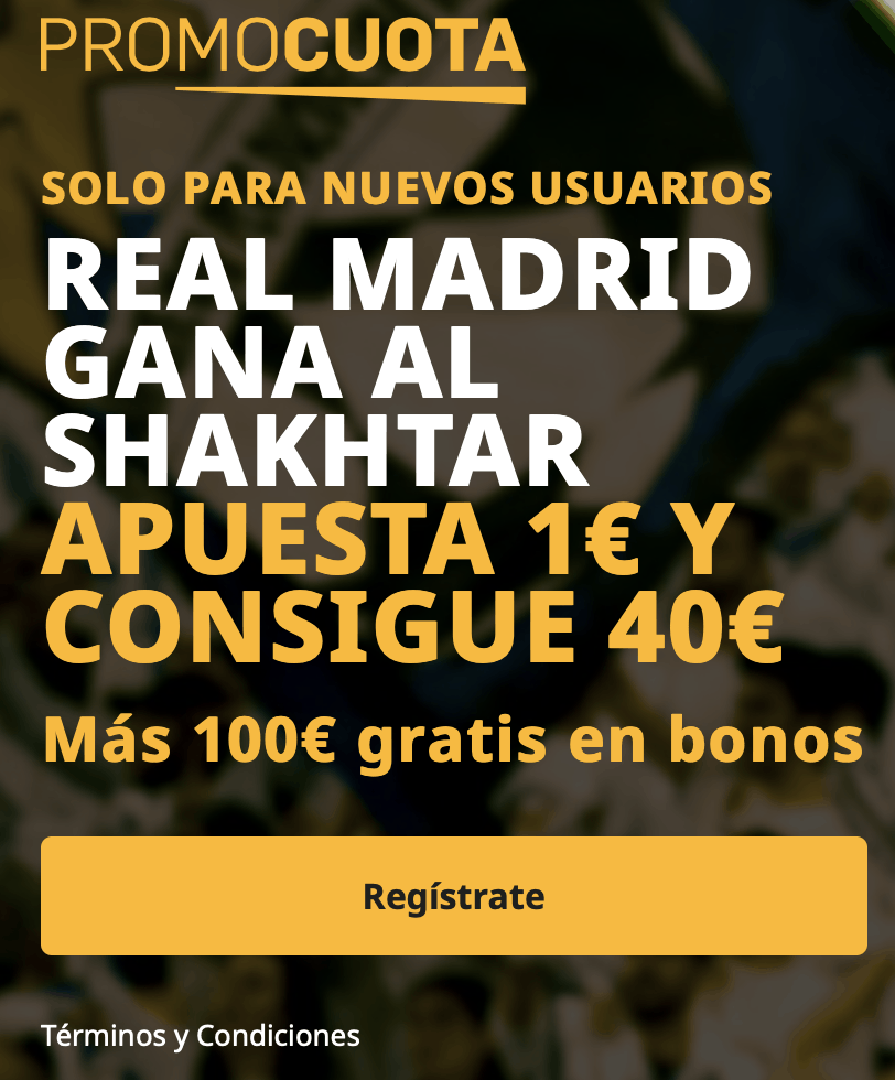 Supercuota betfair Champions League : Shakthar Donestk - Real Madrid.