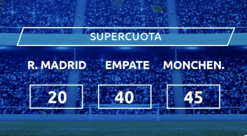 Supercuota Mondobets Champions League : Real Madrid - Borussia Monchengladbach