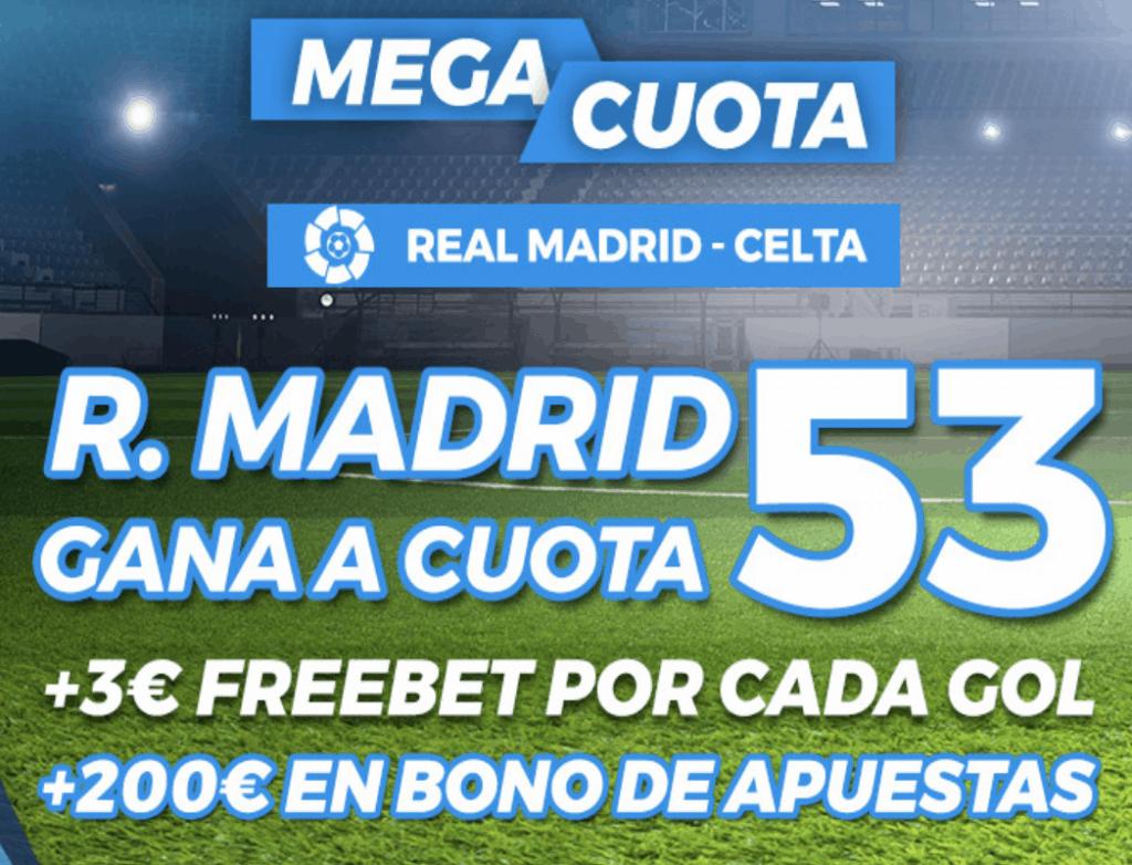 Supercuota pastón La Liga: Real Madrid - Celta