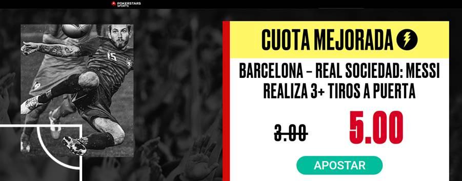 Supercuota PokerStars Sports Fc Barcelona - Real Sociedad , Messi hace 3 tiros a puerta o más.