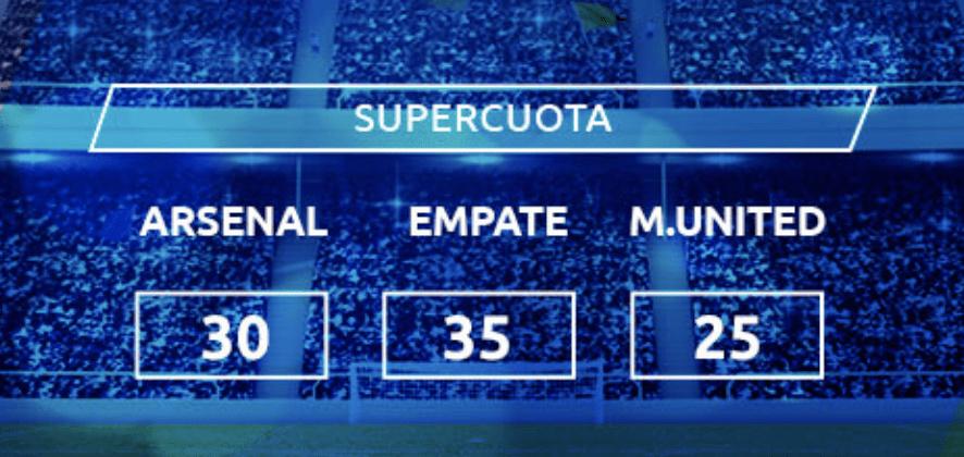 Supercuota Mondobets Premier League : Arsenal - Manchester United