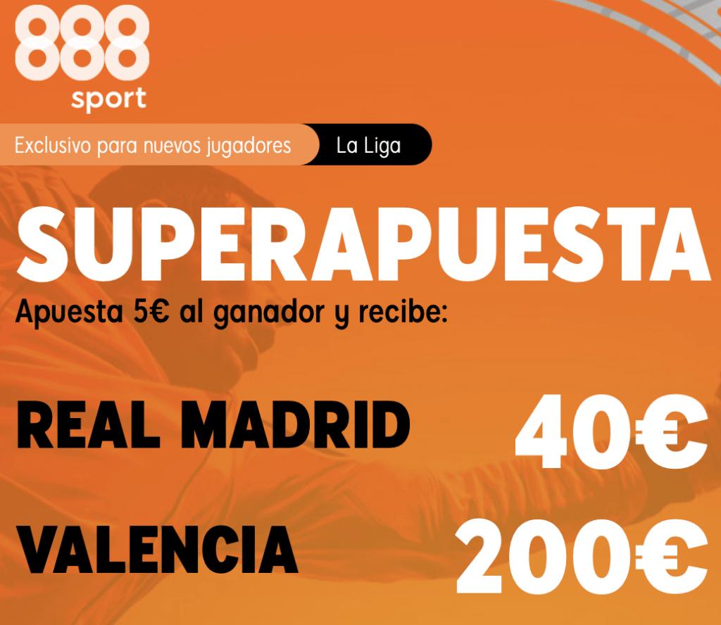 Supercuota 888sport La Liga Real Madrid - Valencia CF.